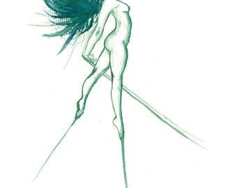 Watercolour Dancers Green Print