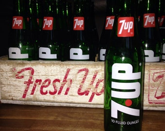 Vintage 7up Crate with All 24 Bottles