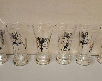 Set of 6 vintage juice glasses, Indian pattern