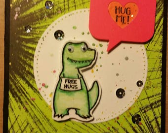 Free Hugs T-Rex Greeting card