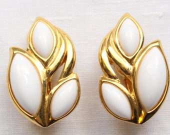 Vintage Signed Trifari Gold Tone and Three White Marquis Shaped Cabochon Clip On Earrings