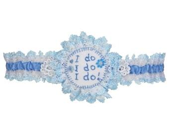 wedding garter, garter, something blue, I do, blue and white garter