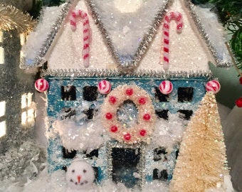 Christmas House Putz Style, Christmas Glitter House, Putz House, Christmas Decor, Christmas Village, Christmas Ornaments, Miniature House