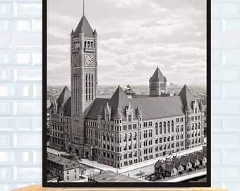 Old Minneapolis Photo, Court House and City Hall, Minneapolis Minnesota, Minneapolis Art, 1905, Black White Photography