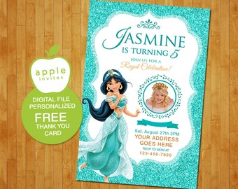 Princess Jasmine Invitation, Princess Jasmine Party, Princess Jasmine birthday, Princess Jasmine, FREE Thank you Card!