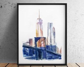 INSTANT DOWNLOAD / City print Big sizes New York print / New York City print / Brooklyn Bridge / New York Skyline / New York watercolor