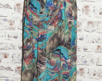 Size 10 12 vintage 80s high waist gathered long/maxi skirt crazy print (GT68)