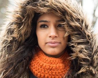 Orange Brick Color Crochet Acrylic Neck Warmer Scarf