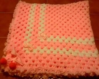 Hand Crochet Baby Girl Pom Pom Blanket