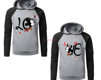Mickey Minnie Kissing Hoodies T Shirt Mr Mrs Raglan Couple Hoodies pärchen pullover Couple Sweatshirts Couple King Queen Hoodies Grey-Black