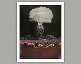 The Atomic Age - Surreal Collage Art Print, retro, 8x10 print, 11x14 print, 12x16 print, vintage art, art print