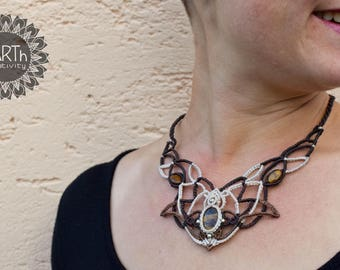 Necklace Lotus Flower with Tiger Eye
