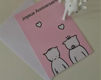 birthday's card for children,  Choumi et Michou