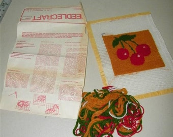 Vintage Cherry Needlepoint Red Cherries Almost Complete Wool 9970