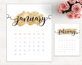 2017 Calendar Glitter Letter - 2017 Calendar Gold 2017 Wall Calendar Calligraphy Printable Calendar 2017 Monthly Planner Printable