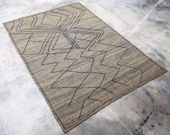 """5'.3""""X7'.4"""" MOROCCAN BENI ourain Hand Knotted In Hand Spun Wool Kilim (MR*1) Free Domestic Shipping"""