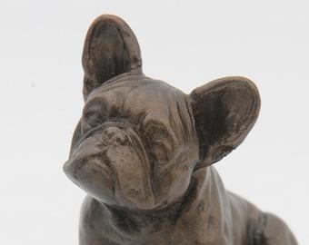 French Bulldog Sitting - Small Cold Cast Bronze Dog Statue