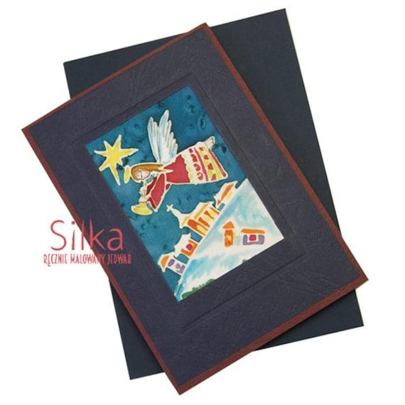 Hand painted silk Christmas card, Christmas card, handmade card, holiday card,holiday greeting card, unique art card, original art work