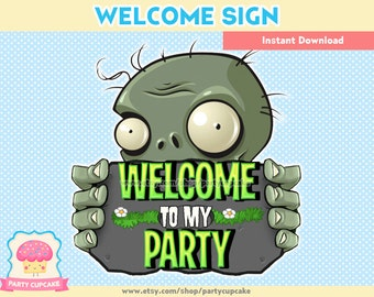 80% OFF SALE Welcome Sign Plants Vs Zombies - Instant Download - PDF Files - High Resolution - Holiday Party