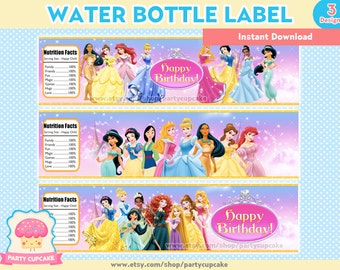 80% OFF SALE Water Bottle Label Disney Princess- 3 Designs - Instant Download - PDF Files - High Resolution - Holiday Party