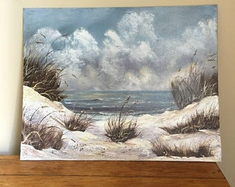 Vintage Artist Signed Beach Painting