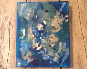 Abstract Painting, Mixed Media, Movement, Original Small Canvas, Water, Beneath, Shimmer