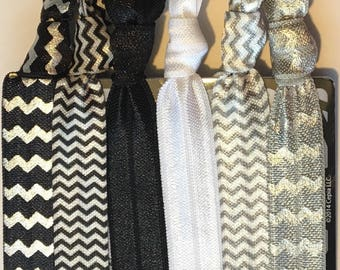 Elastic Hair Ties, Set of 6 Black, Silver, and White, Hair Ties, Yoga Hair Ties