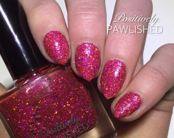 Destiny by Positively Pawlished - rose red holographic 10ml nail polish