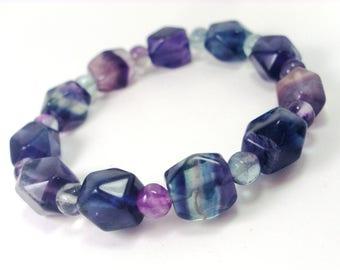 Fluorite Bracelet faceted beads, Womens Bracelet, Natural Stone bracelet, Gemstone Bracelet,Gift for Women,Handmade Bracelet,Beaded Bracelet