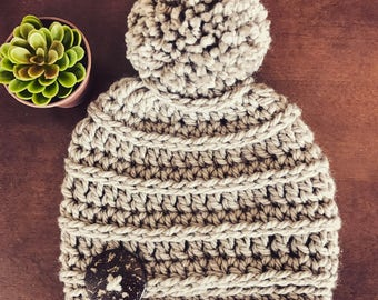 Neutral Textured Pom Pom Hat