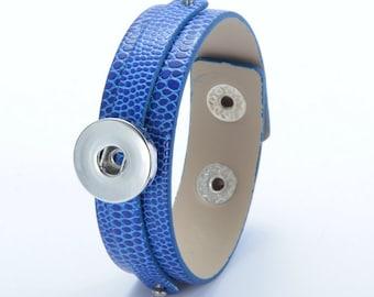 Dark Blue Leather Snap Bracelet, Faux Snake Skin Texture, Snap Charm Bracelet, Snap Jewelry Bracelet