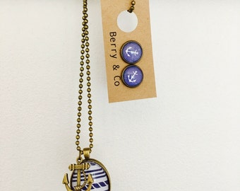 Nautical Glass Necklace Pendant Chain and Earring  Gift Set