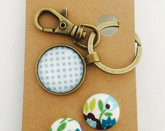 Blue Floral Glass Keyring Chain and Earring Gift Set