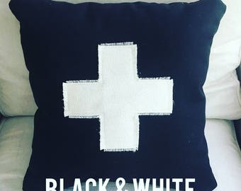 Black and White Swiss Cross Pillows