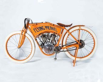 Flying Merkel, Motorcycle, Motorcycle Art, Motorcycle Gift, Motorcycle Print, Motorcycle Poster, 8x10 - 11x14 - 16x20 (JS000199)