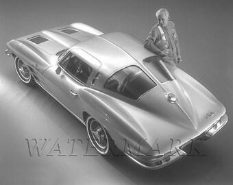 Corvette, 1963 Corvette, Stingray, Corvette Art, Corvette Gifts, Split Window, Poster, Print, Muscle Car - 8x10 - 11x14 (JS0979)