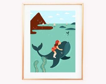 whale friend Print