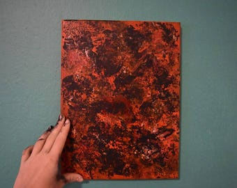 Fire Colored Flower Print Painting