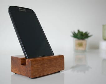 Reclaimed Walnut Effect Wood iPhone Phone iTab Tablet Desk Stand