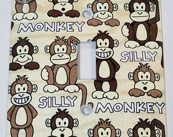 Silly Monkey Metal Light Switch Plate