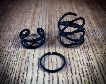 Three piece triplet black ring set, minimalist rings, minimalist jewellery, geometric ring