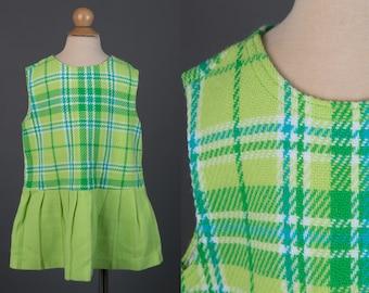 Vintage 1960s girl's dress | green plaid mod scooter drop waist dress