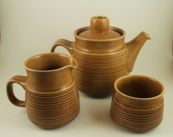 Vintage Teapot, 1960s Set (6) by Langley of England, Creamer, Sugar Bowl and Set (6) of Cups and Saucers