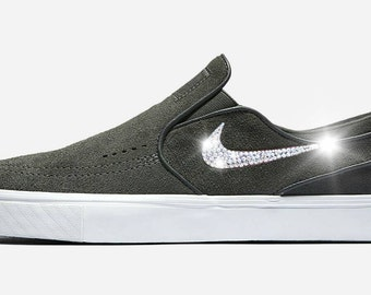 NEW! bling nike Swarovski Nike Zoom Janoski Slip Elite, slip on shoes, Swarovski Nike, slip on sneakers, slip on, Swarovski sneakers,