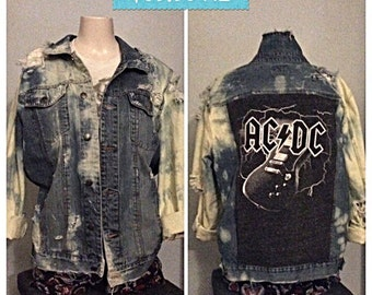 ACDC Hand made distressed bleached Jean jacket of a kind