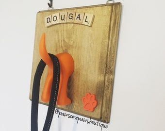 Dog lead hanger, dog hook, dog leash hanger, personalised gift, dog lover