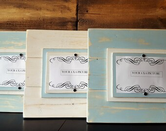 Rustic, Cottage Style, Wood, Picture Frame set, 4 x 6 photos