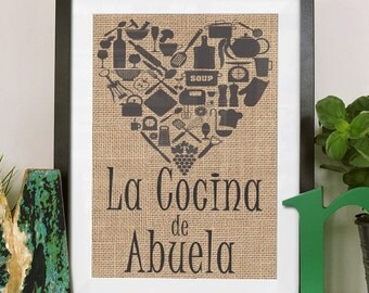 La Cocina De Abuela. Burlap Print/Español/ Kitchen Decor/House Warming/Cooking/Kitchen Print*****FREE DOMESTIC SHIPPING*****