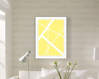 Yellow Geometry, white lines, digital download print, modern art print