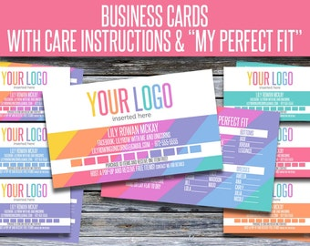 Business Cards with Care Instructions and My Perfect Fit! LLRBC005